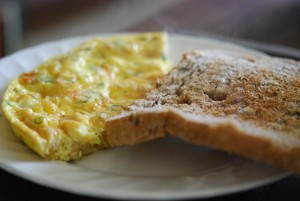 Omelette and toast